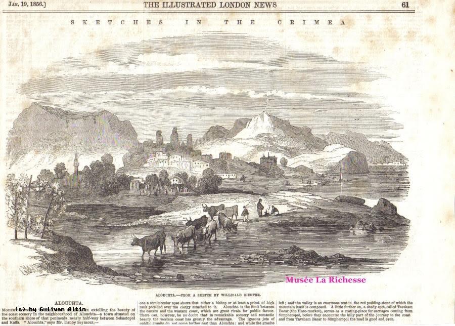Вид на Алушту в британской газете. 1856 год