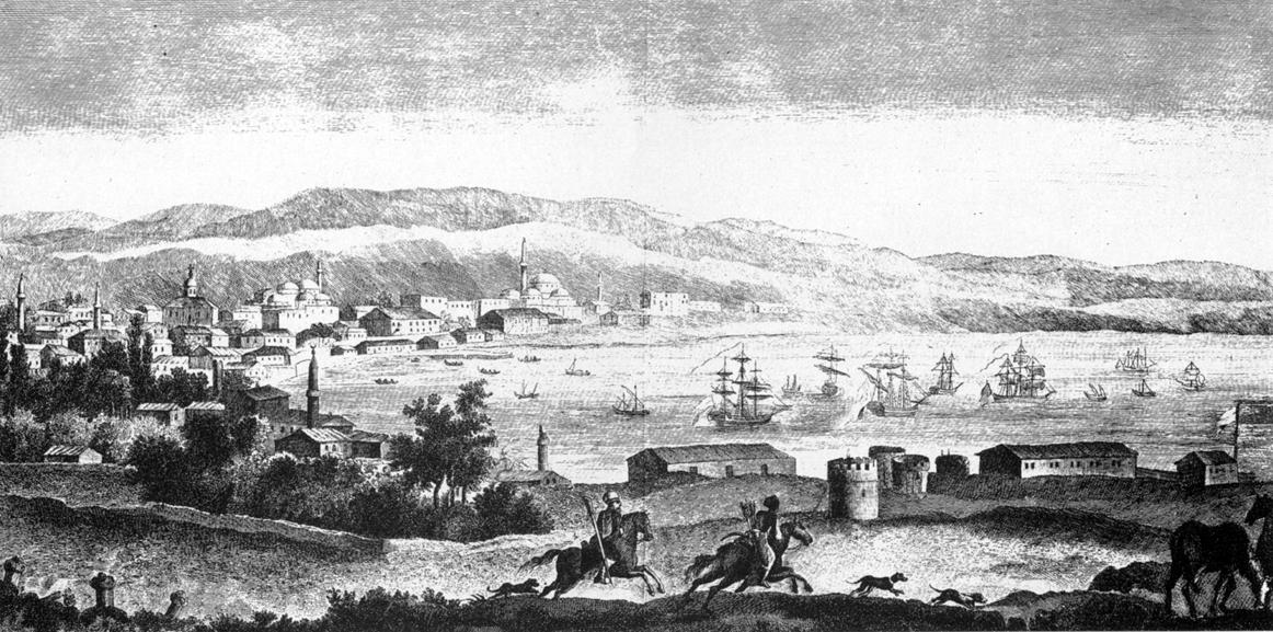 Вид на Кезлев и остатки его крепости. Гравюра 1803 г