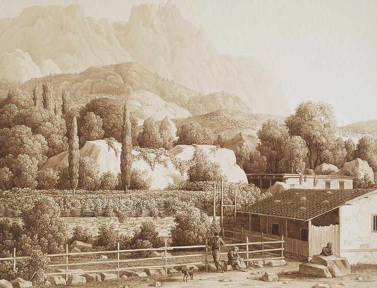 Еще одна гравюра Карла фон Кюгельгена, сделанная в Алупке
