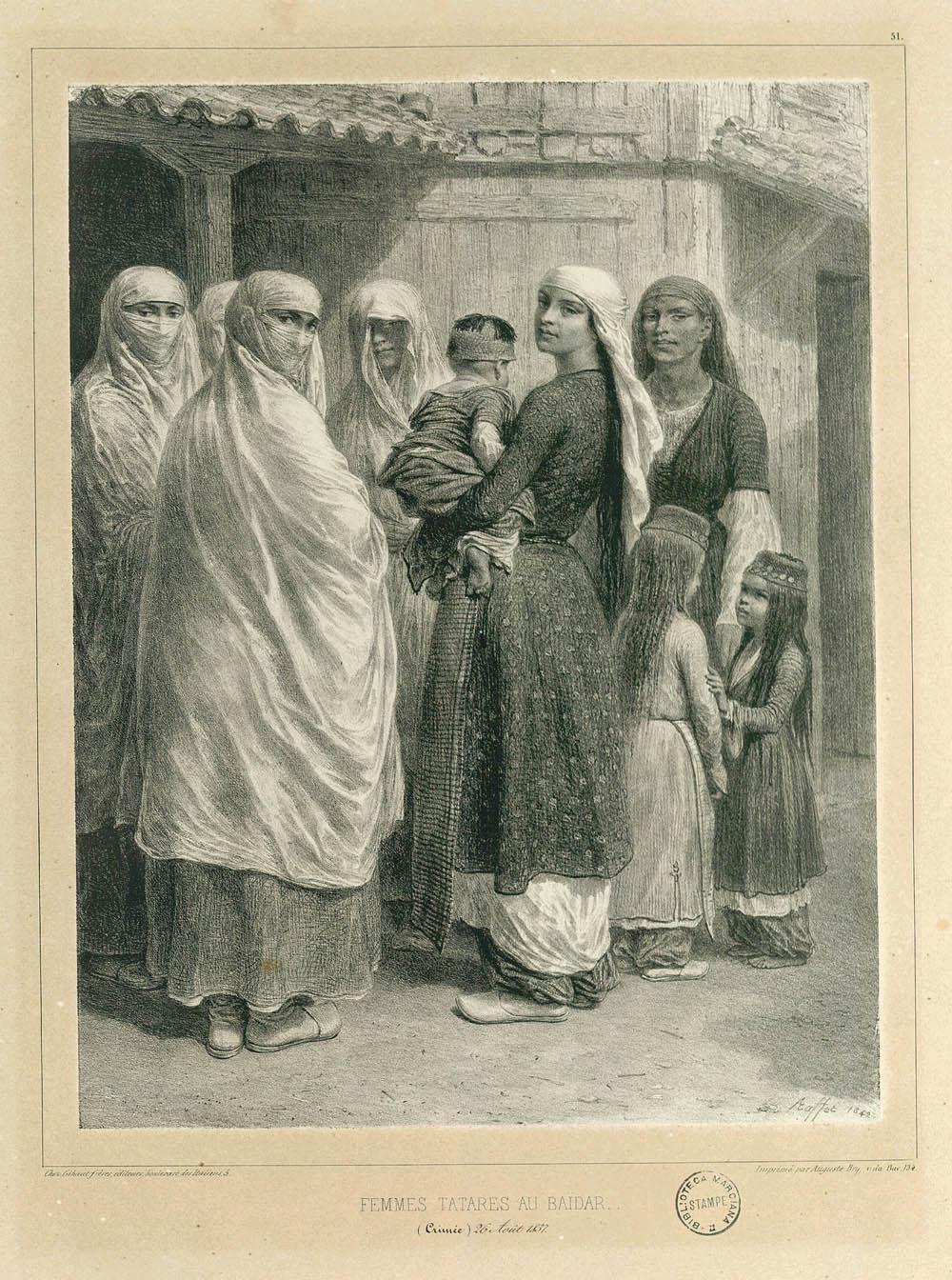 Татарские женщины из деревни Байдары. Картина Раффе, 1837 год