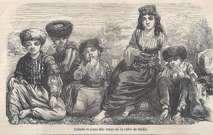 Крымскотатарские дети в деревне Байдар. Иллюстрация из британской газеты XIX века