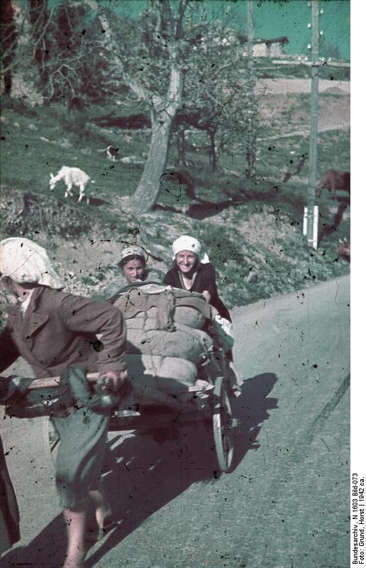 Крымские татарки с повозкой. Фото сделано в годы II Мировой войны