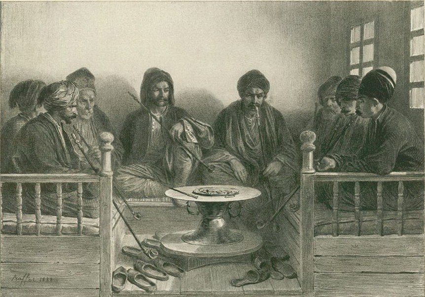 Огюст Раффе. Армяне и крымские татары в кофейне Карасубазара
