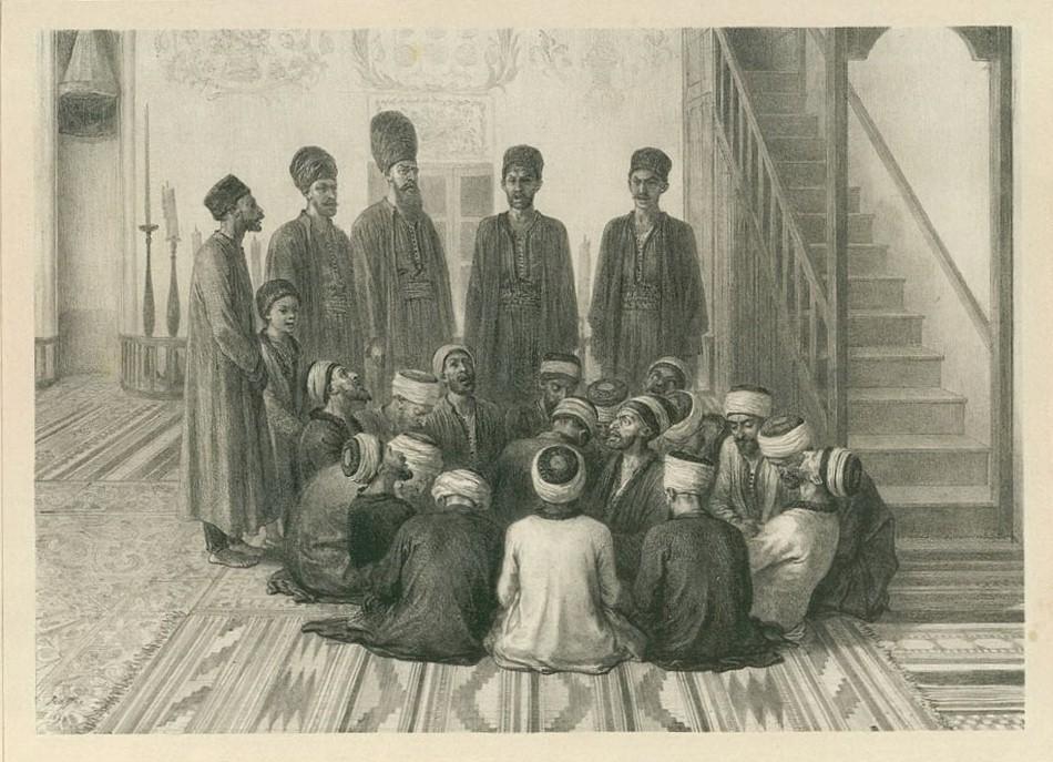Огюст Раффе. Крымские татары - дервишы татары в Карасубазаре. 1837 г.