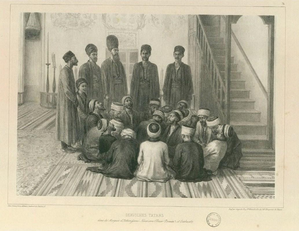Дервишы в мечети Карасубазара. Рисунок Огюста Раффе