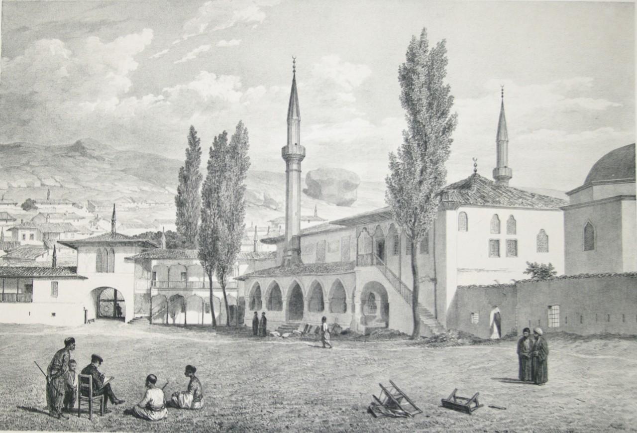 Мечеть в Ханском дворце в Бахчисарае. Рисунок Огюста Раффе. 1837 год