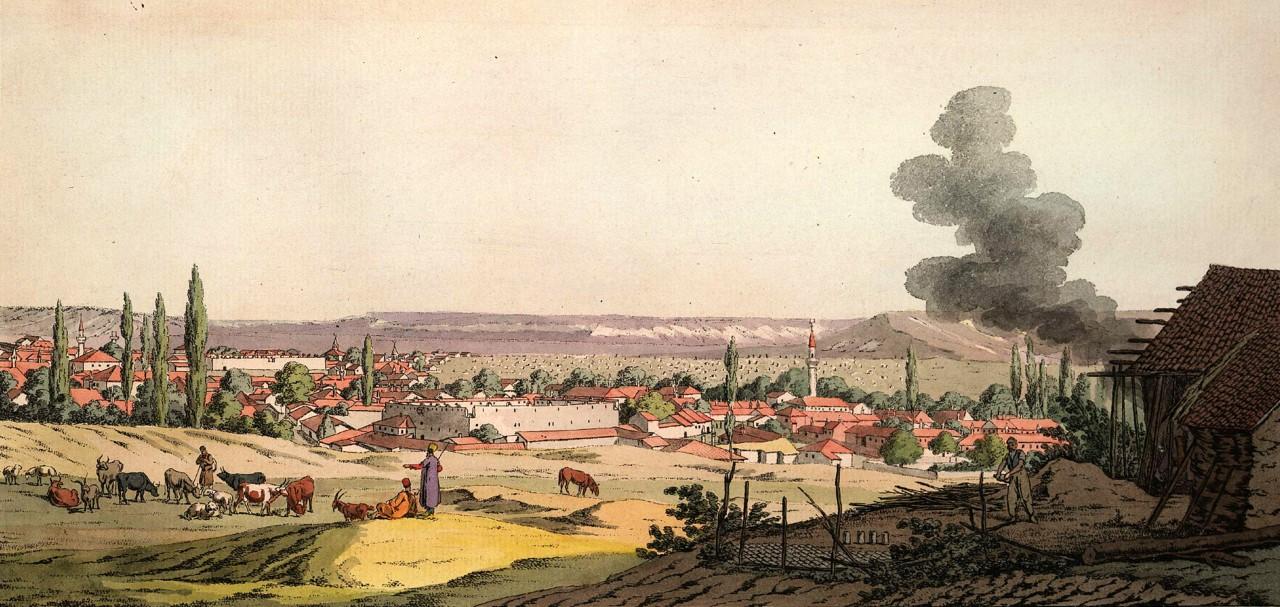 Карло Боссоли. Вид восточной части города Карасубазара, рисованный с высоты южной стороны. Середина XIX века
