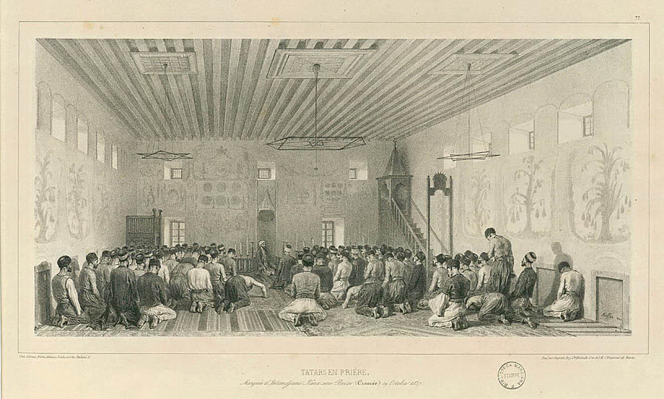 Крымские татары молятся в мечети Истримджами в Карасубазаре. Рисунок Огюста Раффе, 1837-1844 гг