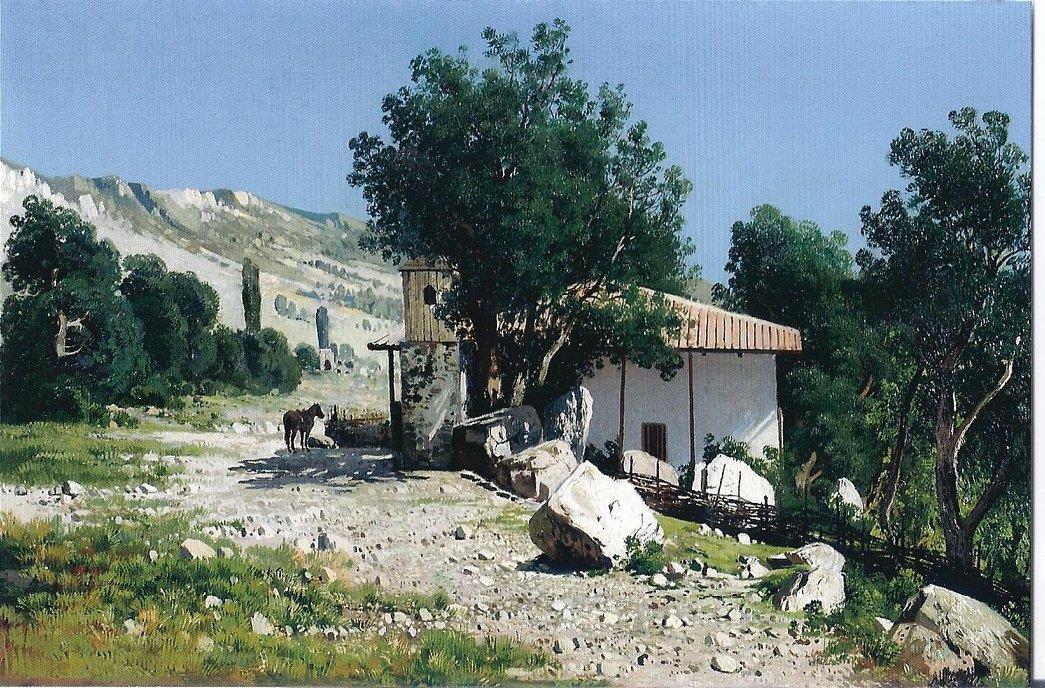 Крымский пейзаж (предположительно - Симеиз). Картина Андрея Шильдера, конец XIX века