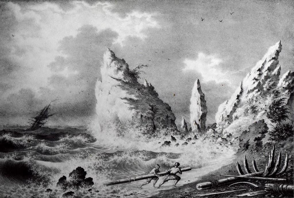 Берег в Симеизе. Рисунок Федора Гросса, 1840-е годы